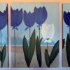 Pintura de tulipanes azules y blanco de pacoponce