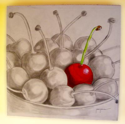 Bodegon de cerezas