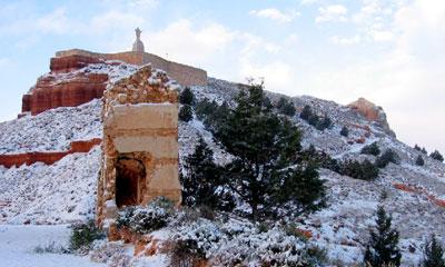 Vista del Sagrado Corazon de Alfambra nevado