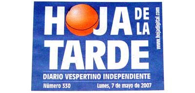 Cabecera del periódico de la Hoja de la tarde de Valencia