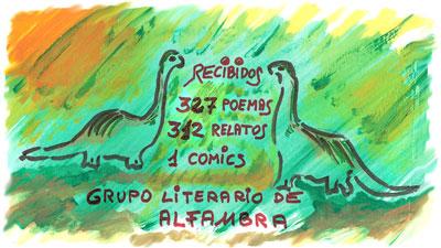 Ilustracion con dinosaurios para la promocion del concurso de Alfambra