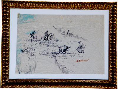 Dibujo de toros en la dehesa
