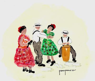 Grupo de bailarines danzan La Plena