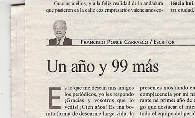 Articulo de la celebracion del primer aniversario de Valencia hui