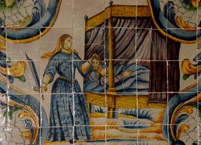 Judith corta de la cabez a Holofernes en estado de embriaguez