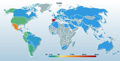 Mapa de los paises que visitan esta web