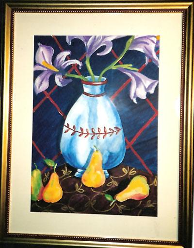Acuarela titulada Flores y Peras