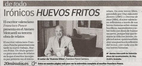 20minutos con el escritor Francisco Ponce