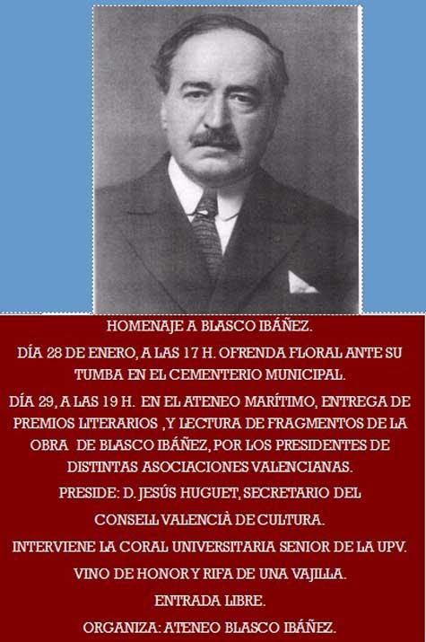 Actos en honor del insigne valenciano Blasco Ibáñez