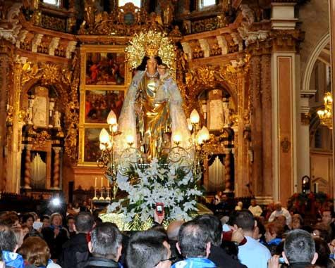 Interior de la basílica de la Virgen de los Desamparados