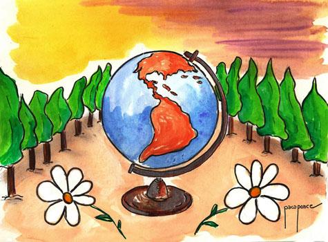 Dibujo acuarela de Paco Ponce (Día de la tierra 2013)