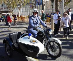 Moto con sidecar policía
