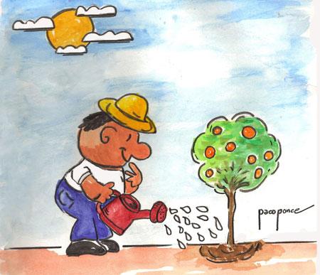 Regando las plantas - Dibujo acuarela de Paco Ponce