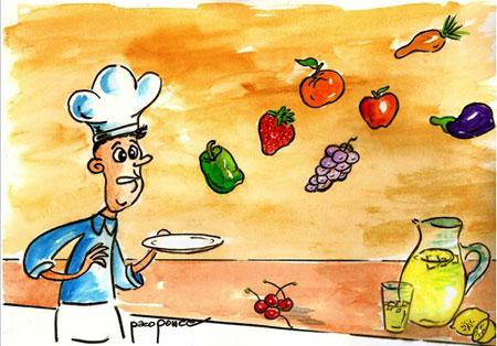 Hortalizas y cocinero - Acuarela