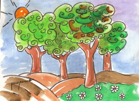 Árboles de hoja perenne - Acuarela