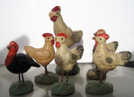 Grupo de aves figuras Belén antiguo