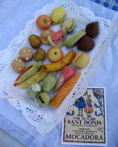 Bandeja de frutas de mazapán