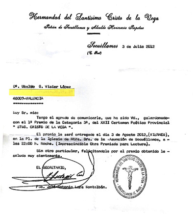 Carta anunciado el premio