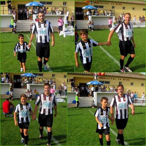 Presentación jugadores del primer equipo con los infantiles