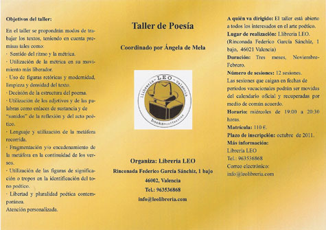 Taller de Poesía - Coordinado por Ángela de Mela