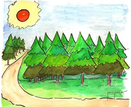 Cuidemos los árboles - acuarela