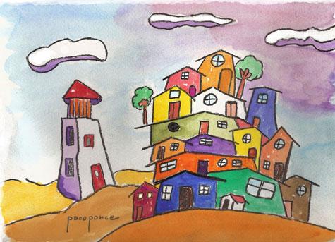 """""""La Ciudad de Tunquemon"""" - (Dibujo-Acuarela)"""