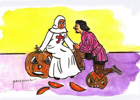 Don Juan y Doña Ines - Escena (caricatura) del Tenorio
