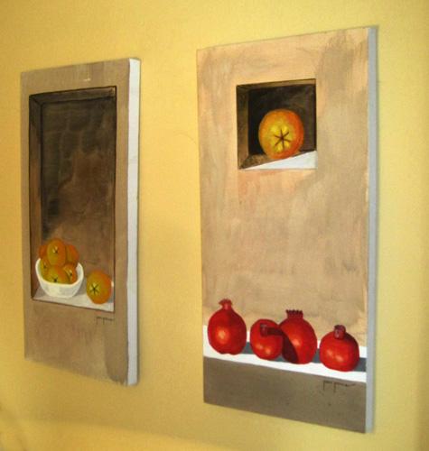 Dos bodegones de fruta