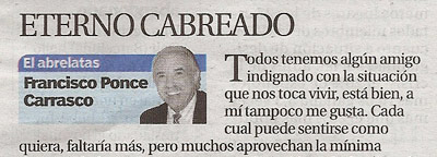 """El Abrelatas"" Columna de F. Ponce"