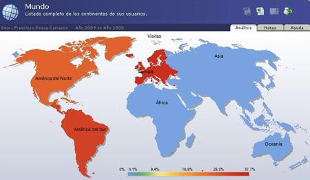 Entradas totales año 2009 - cinco continentes -Ranking