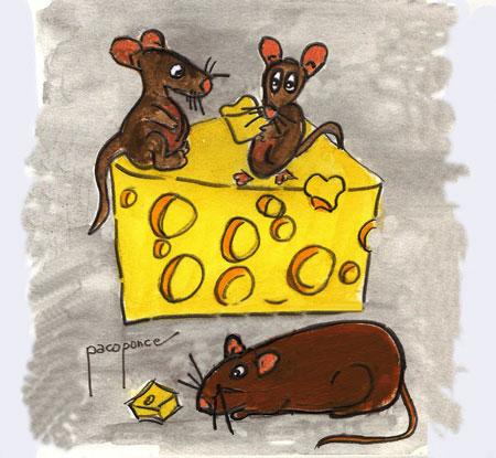 Ratones en el festín, dibujo acuarela de Paco Ponce