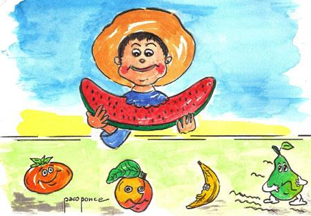Frutas - Acuarela y dibujo de Paco Ponce