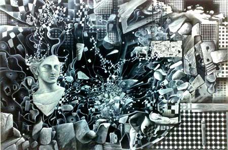 Mural  grises y azules de Bermejo