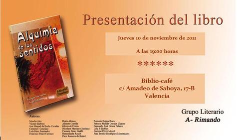 """Invitación presentación del libro """"Alquimia de los Sentidos"""""""