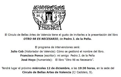 """Invitación presentación del libro """"Otro 98 es necesario"""""""