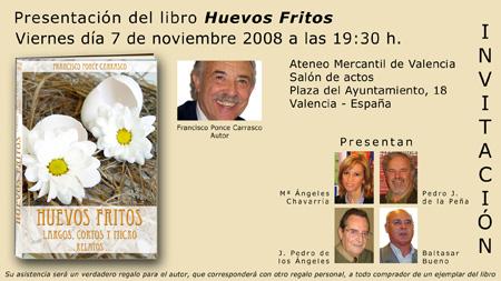 (Invitación a la presentación del libro Huevos Fritos)