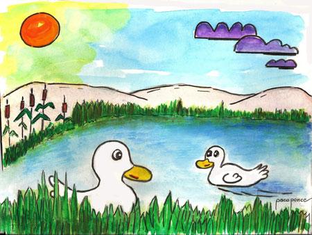 Lago dibujo acuarela