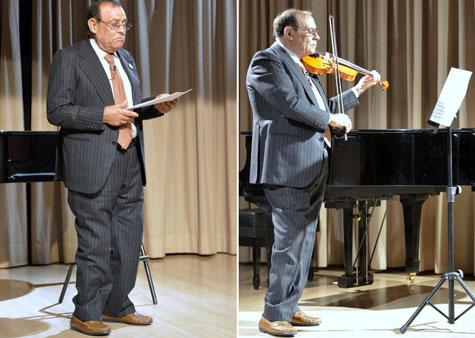 Actuación y tocando el violín (Mariano Peña Albares)