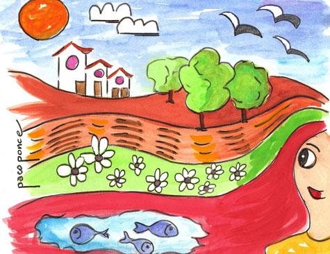 La madre naturaleza en primavera (Dibujo-Acuarela)