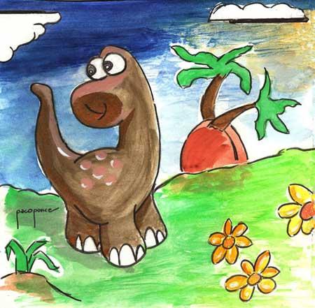 Dibujo-pintura infantil de un dinosaurio
