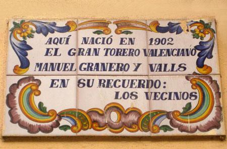 Placa donde nació el torero Manuel Granero y Valls
