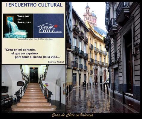"""Evento, escalinata y calle de la """"Casa de Chile"""""""