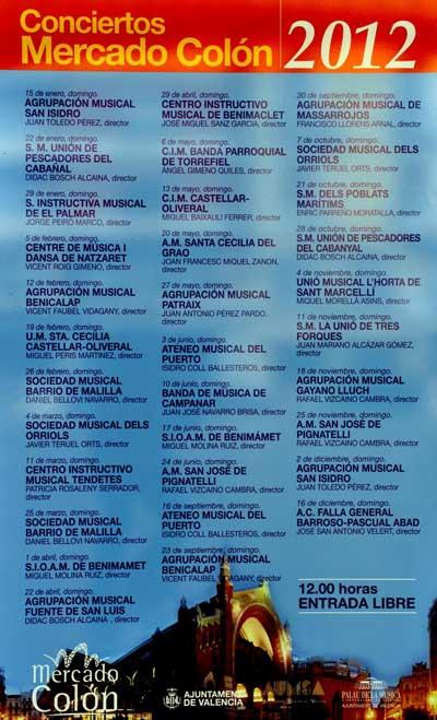 """Programa de conciertos """"Mercado de Colon"""" 2012 - Valencia"""