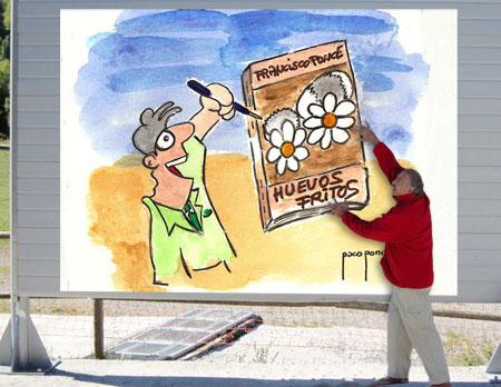 Publicidad del libro Huevos fritos en valla