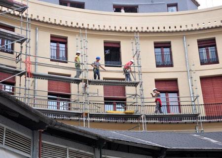 Trabajos de restauración de la Plaza Redonda