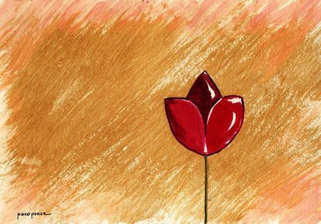Tulipán sobre campo dorado