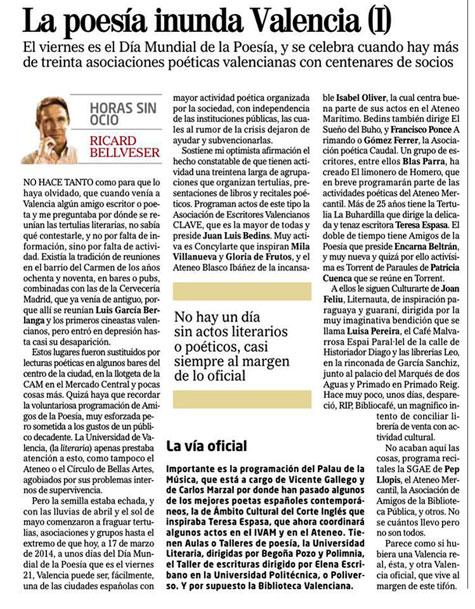 """Ricardo Bellveser en el Periódico """"El Mundo"""""""