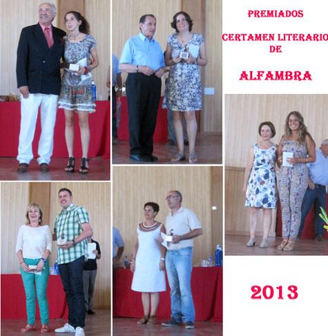 Premiados en el VII Certamen Literario de ALFAMBRA 2013