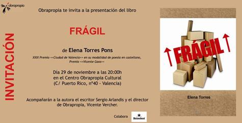 """Invitación presentación poemario """"Frágil"""""""